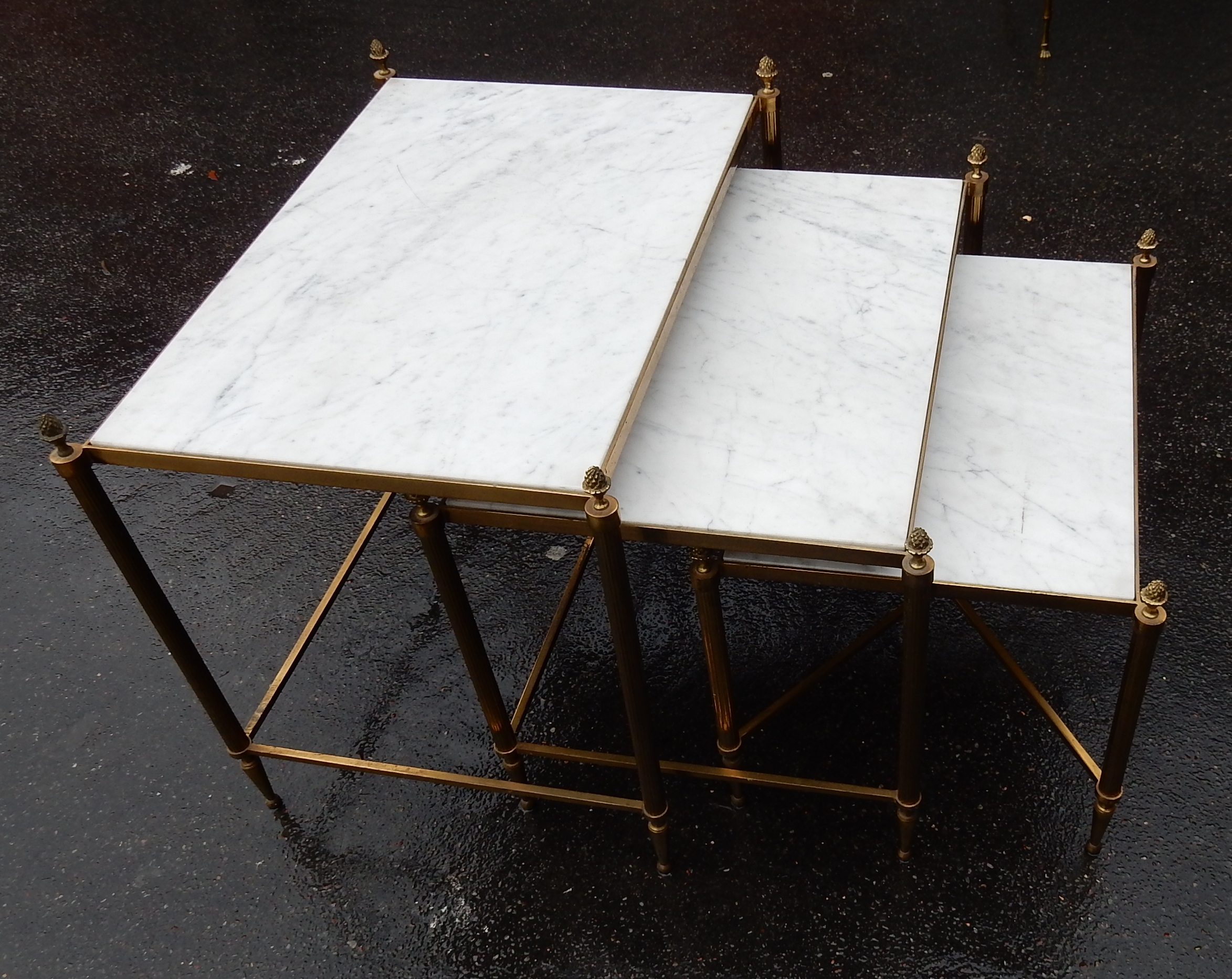 1970 Nested Side Tables Maison Bagues With 3 Marble Trays Fluted Feet And Pine Cone Tops Abcpascal Antiquites